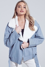 blue blush Faux Fur Jacket - Front full body
