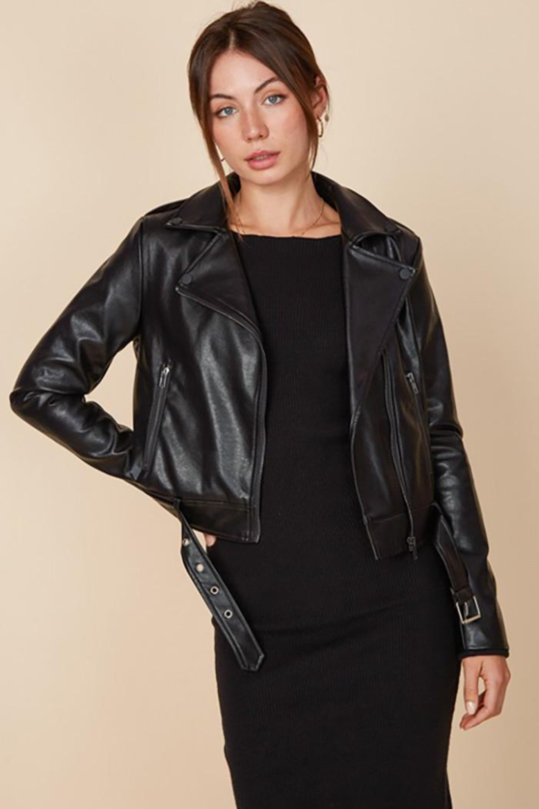 blue blush Faux Leather Belted Motorcycle Jacket - Side Cropped Image