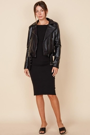 blue blush Faux Leather Belted Motorcycle Jacket - Back cropped