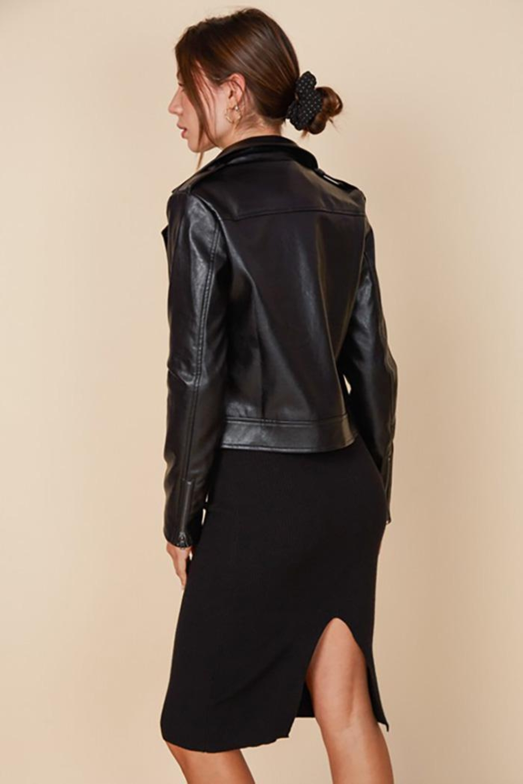 blue blush Faux Leather Belted Motorcycle Jacket - Front Full Image