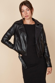 blue blush Faux Leather Belted Motorcycle Jacket - Product Mini Image