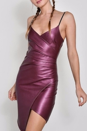 blue blush Faux Leather Dress - Front cropped