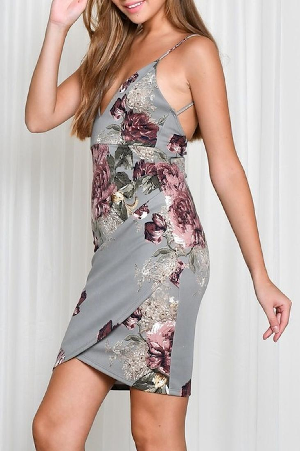 blue blush Floral Fitted Dress - Front Full Image
