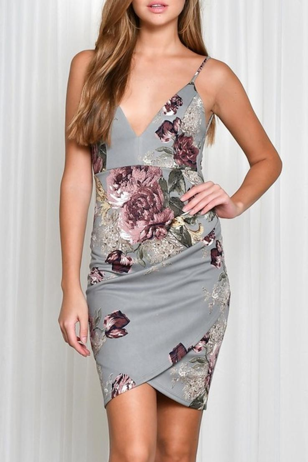 blue blush Floral Fitted Dress - Main Image