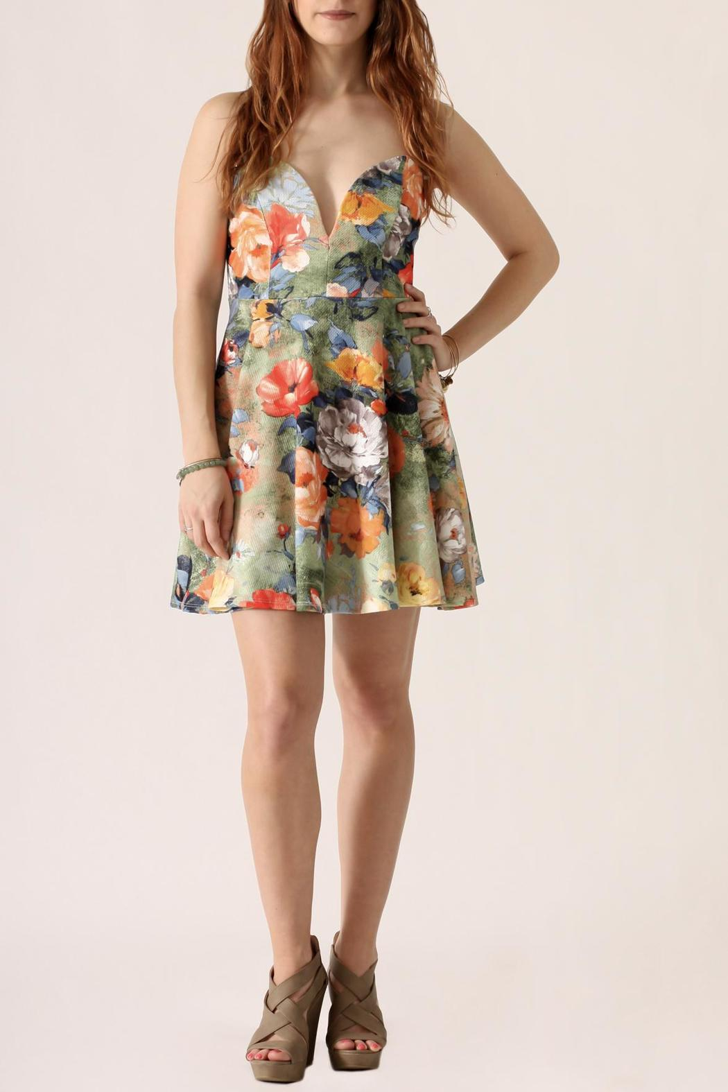 blue blush Floral Flare Dress - Front Cropped Image