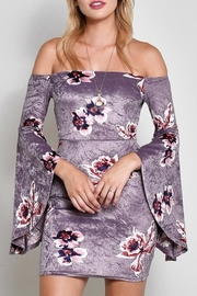 blue blush Floral Off Shoulder Dress - Product Mini Image
