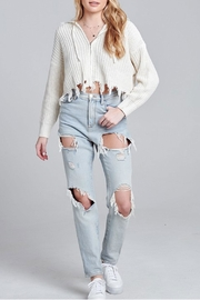 blue blush Frayed Cropped Hoodie - Product Mini Image