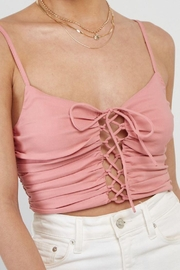 blue blush Front Lace Up Cami Crop Top - Side cropped