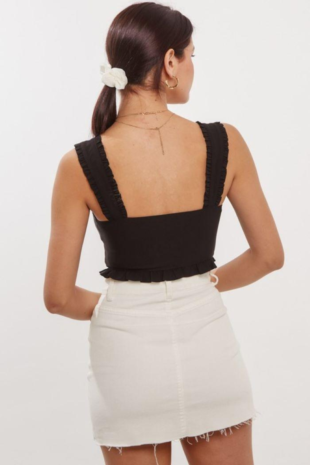blue blush Front Lace Up Detail Crop Top - Back Cropped Image