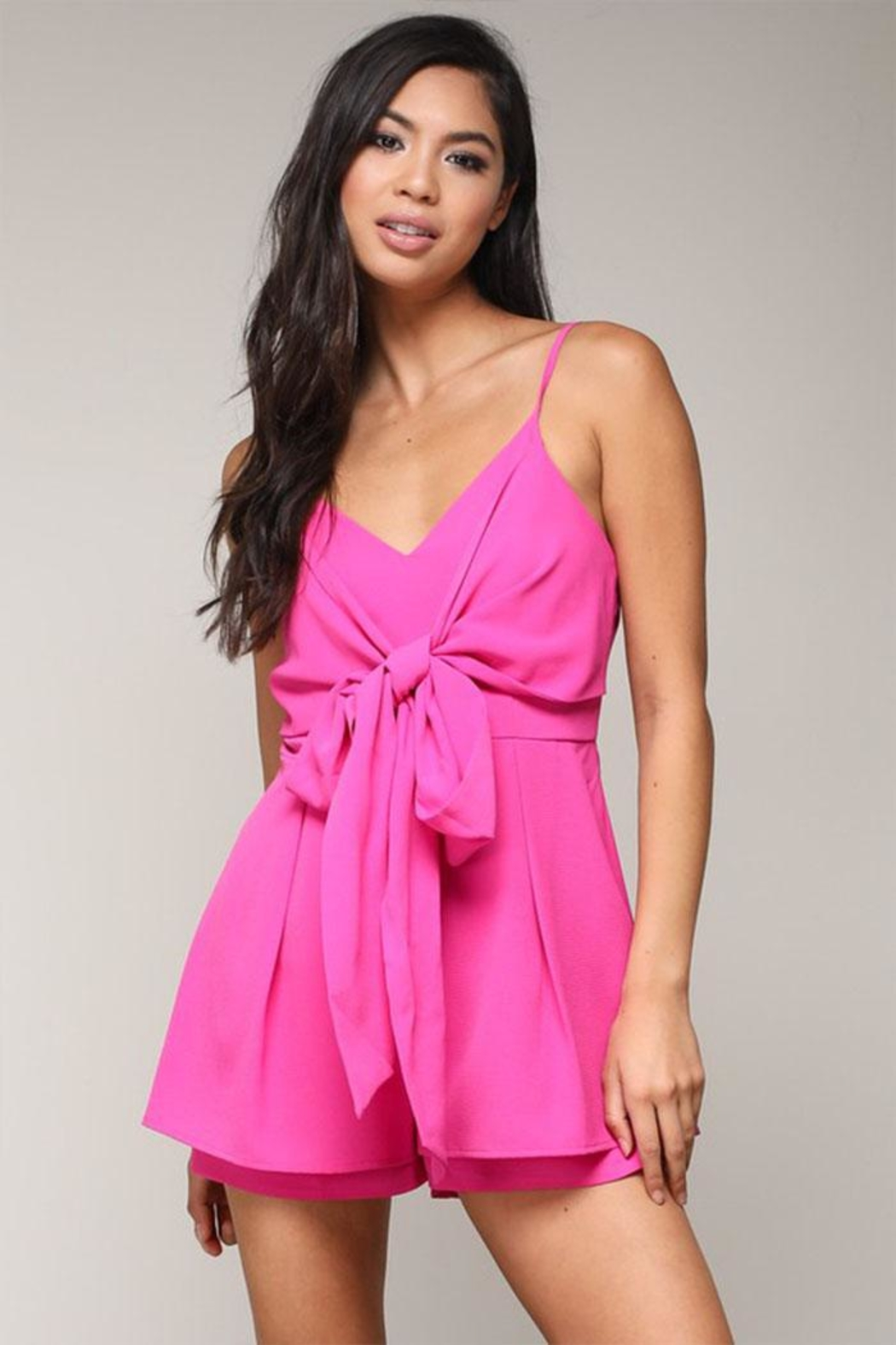 blue blush Front Tie Romper - Front Cropped Image
