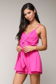 blue blush Front Tie Romper - Front full body