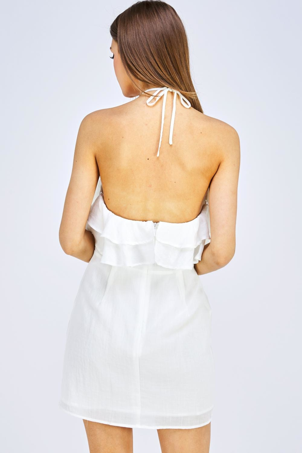 blue blush Halter Mini Dress - Back Cropped Image