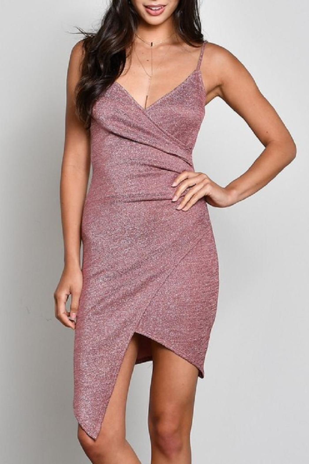 blue blush High-Low Crossover Dress - Main Image
