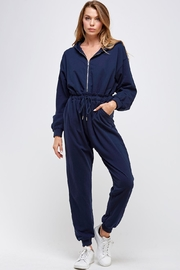 blue blush Hooded Zipper Jumpsuit - Product Mini Image