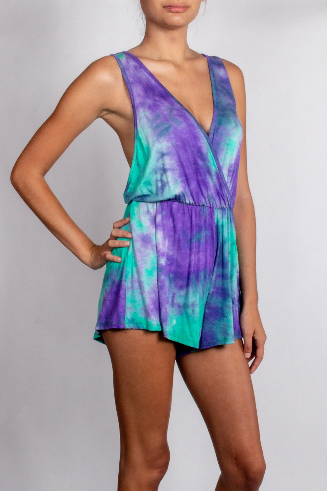 blue blush Island-Paradise Green\purple-Tie-Dye Romper - Front Cropped Image
