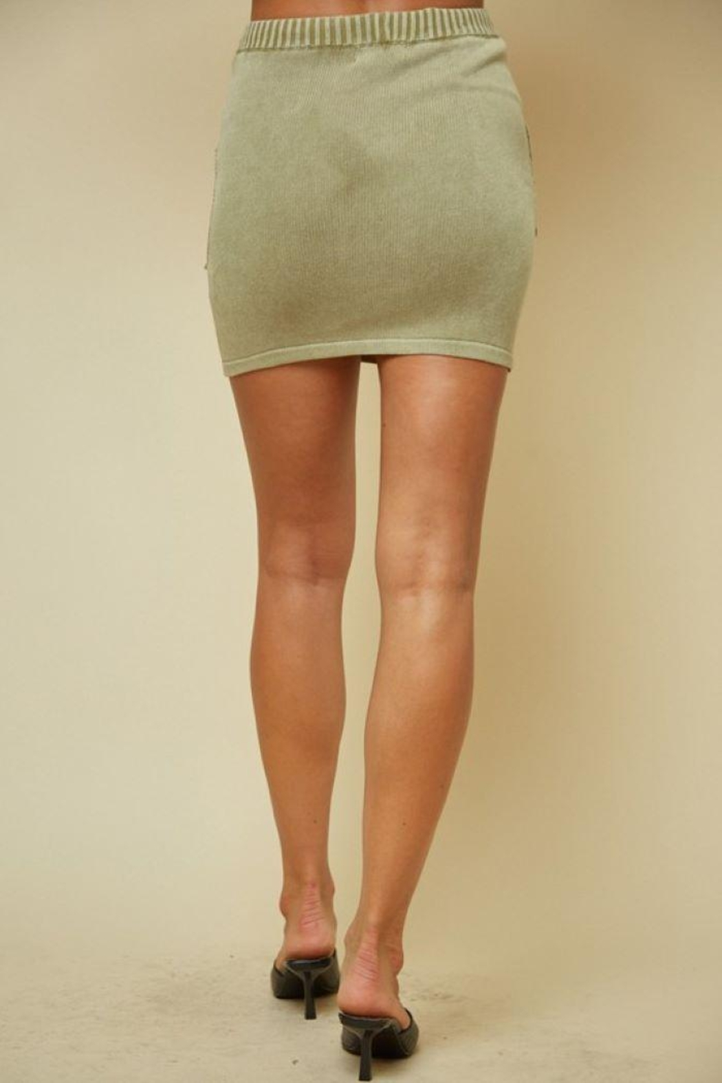 blue blush Knitted Ribbed Mini Skirt - Side Cropped Image