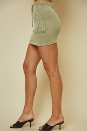 blue blush Knitted Ribbed Mini Skirt - Back cropped