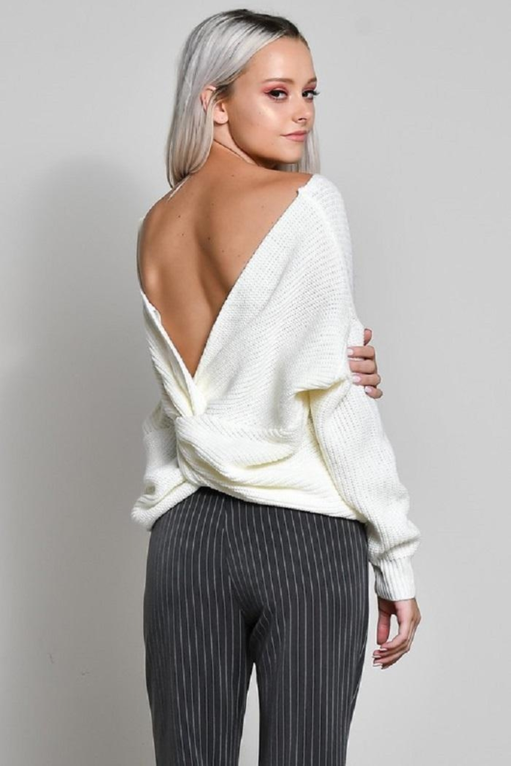 blue blush Knot Back Sweater - Front Cropped Image