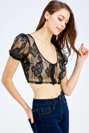 blue blush Lace Crop Top - Front full body