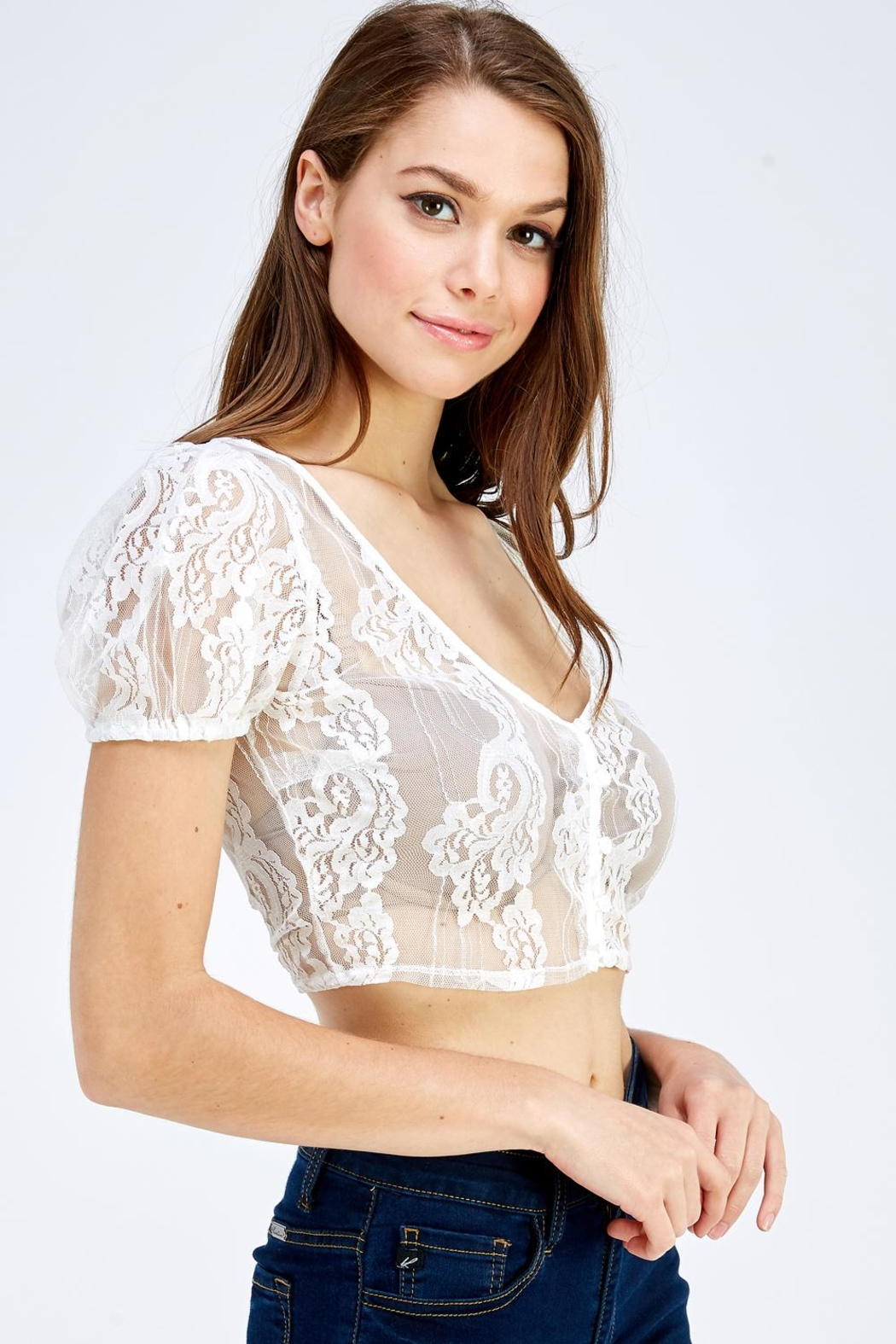 blue blush Lace Crop Top - Front Full Image