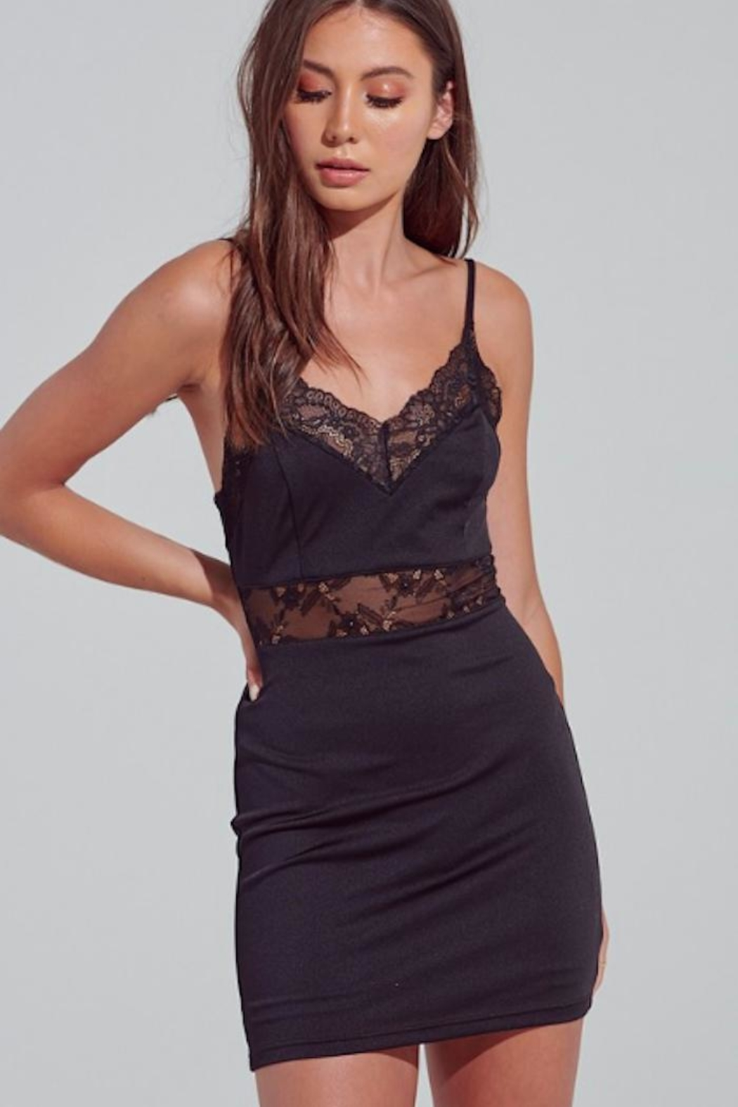 blue blush Lace Detailed Dress - Front Cropped Image