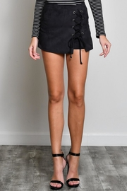 blue blush Lace Up Suede Skort - Front cropped