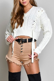 blue blush Lace Up Sweater - Front full body