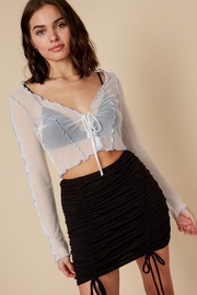 blue blush Mesh Crop Top - Front full body