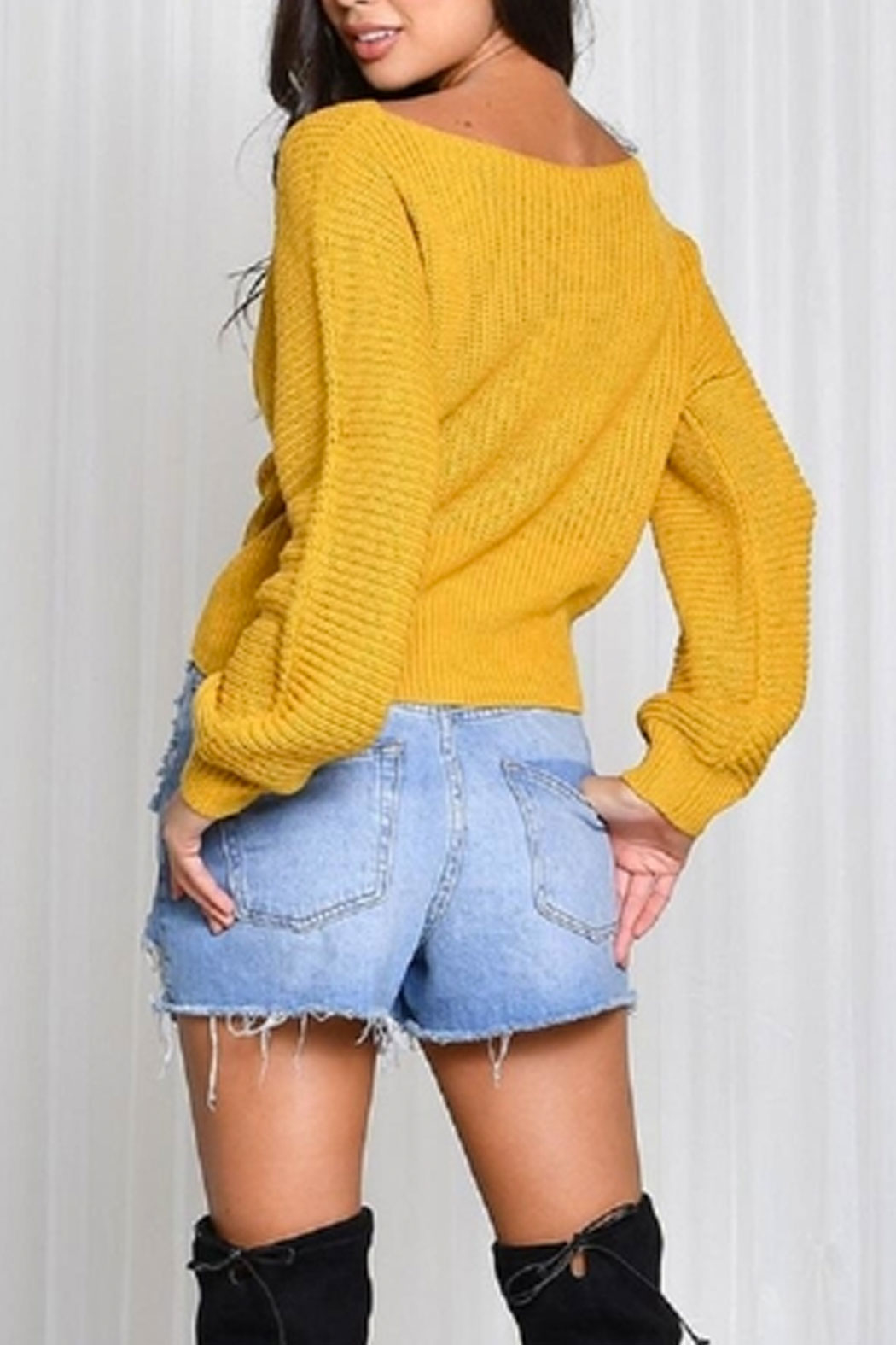 blue blush Mustard Corsette Sweater from New York City by Dor L ...