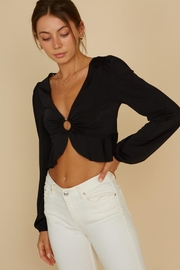 blue blush O-Ring Crop Blouse - Front full body