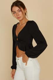 blue blush O-Ring Crop Blouse - Front cropped