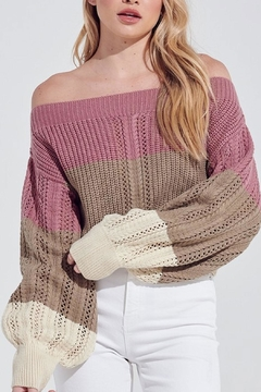 blue blush Off-The-Shoulder Color-Block Sweater - Product List Image