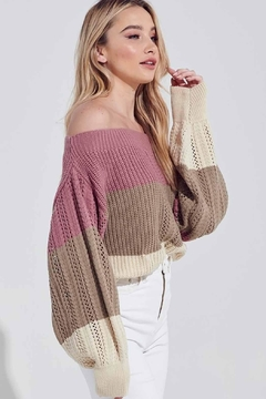 blue blush Off-The-Shoulder Color-Block Sweater - Alternate List Image