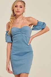 blue blush Off-The-Shoulder Denim Dress - Product Mini Image