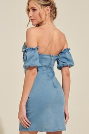 blue blush Off-The-Shoulder Denim Dress - Front full body