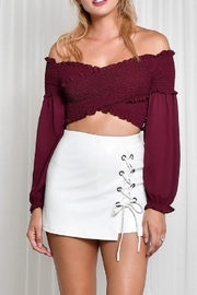blue blush Off The Shoulder Top - Front cropped