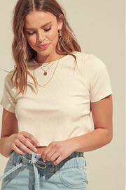 blue blush Open-Back Crop Top - Front full body