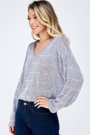 blue blush Oversized Striped Top - Side cropped