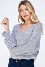 blue blush Oversized Striped Top - Product Mini Image