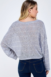 blue blush Oversized Striped Top - Back cropped