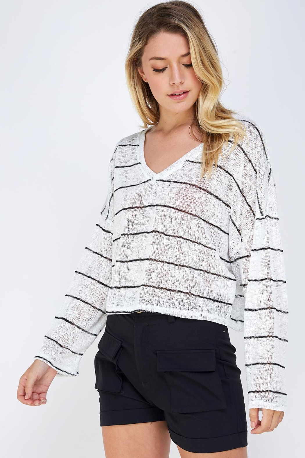 blue blush Oversized Striped Top - Side Cropped Image