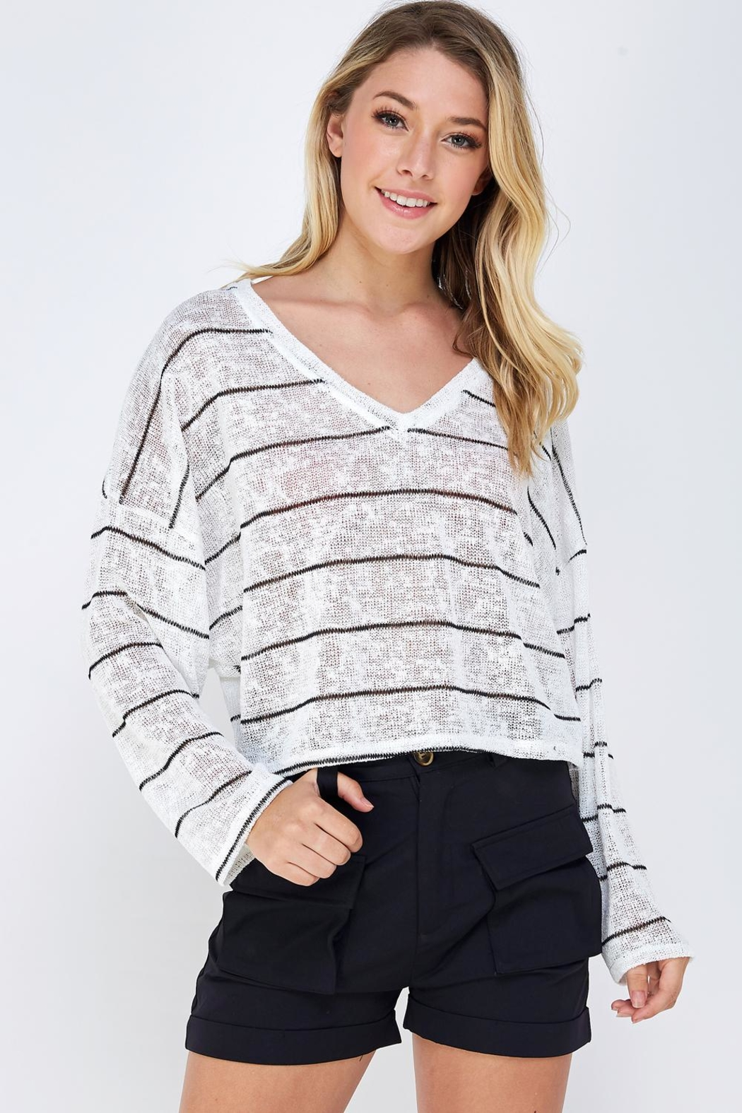 blue blush Oversized Striped Top - Front Cropped Image