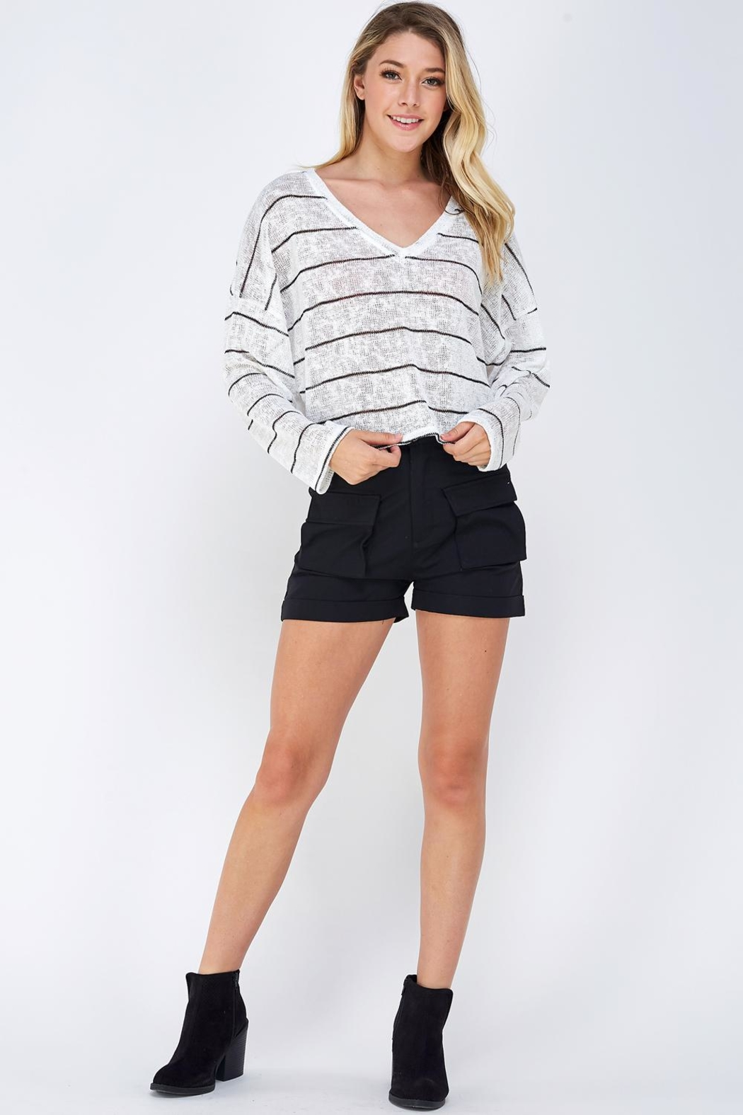 blue blush Oversized Striped Top - Front Full Image
