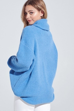 blue blush Oversized Turtleneck Sweater - Alternate List Image