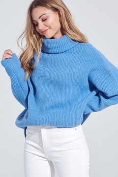 blue blush Oversized Turtleneck Sweater - Product List Image