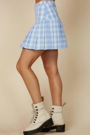 blue blush Plaid Tennis Skirt - Front full body