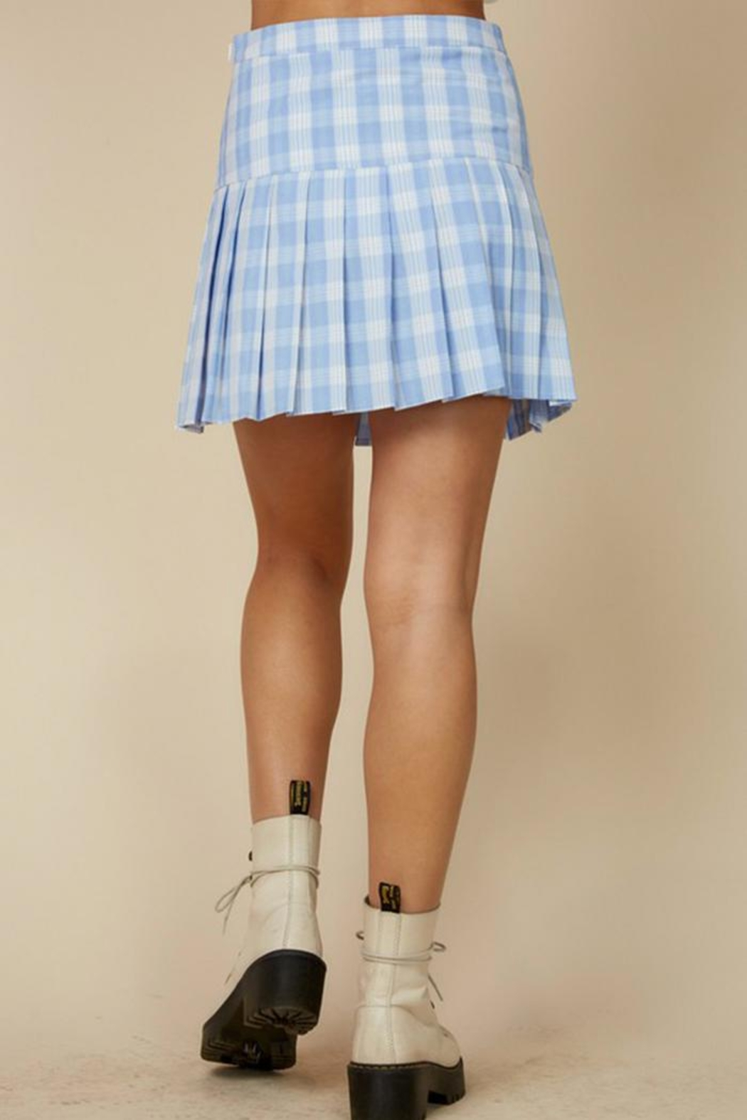 blue blush Plaid Tennis Skirt - Side Cropped Image