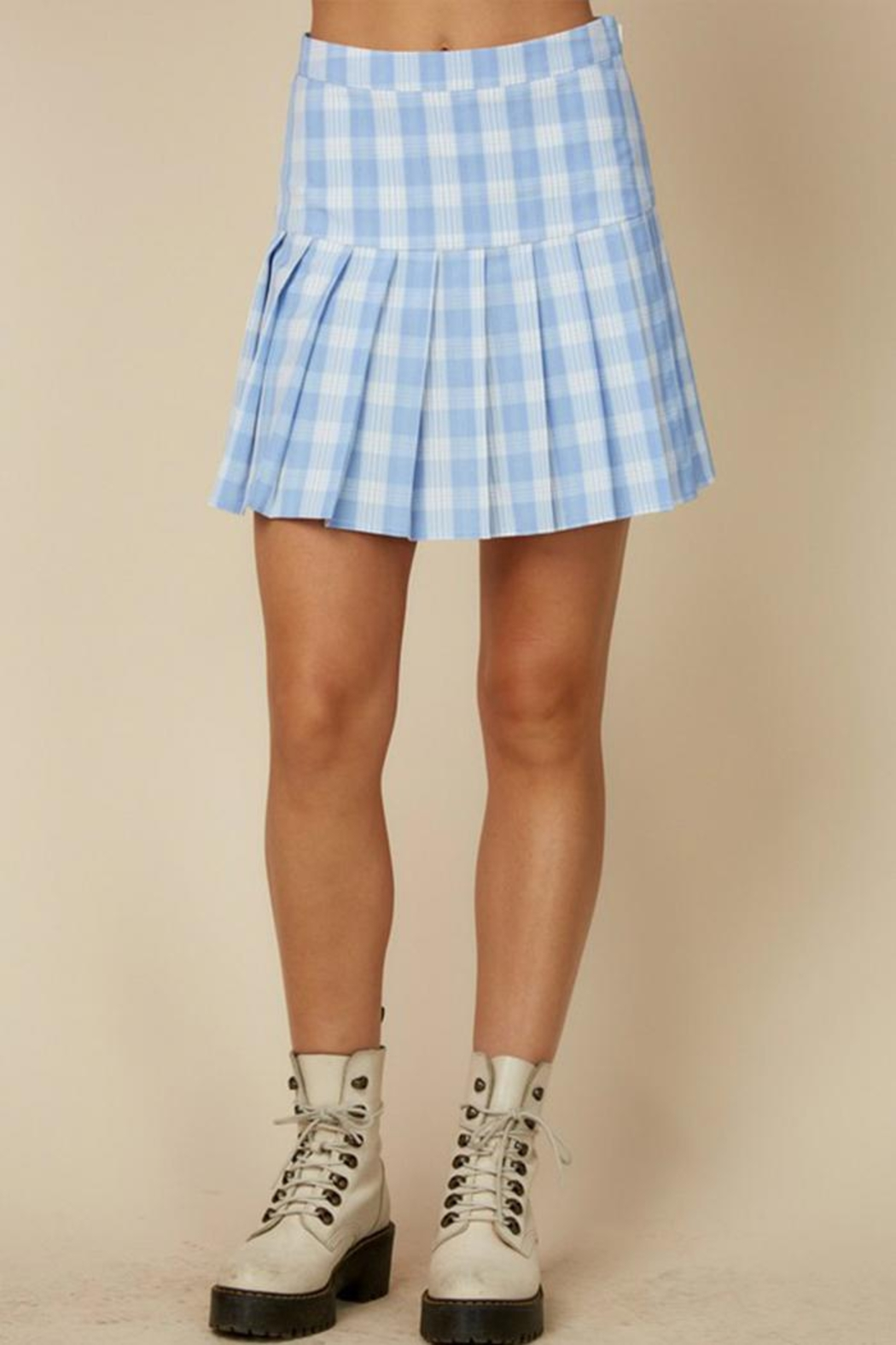 blue blush Plaid Tennis Skirt - Front Cropped Image