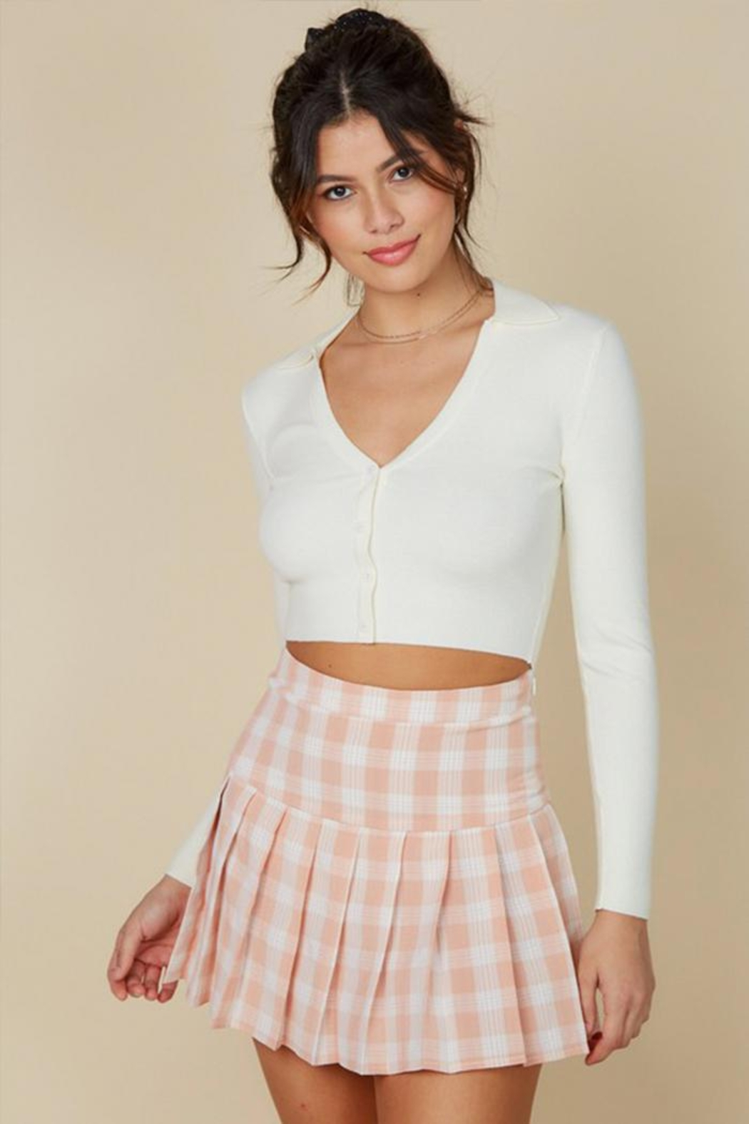 blue blush Plaid Tennis Skirt - Main Image