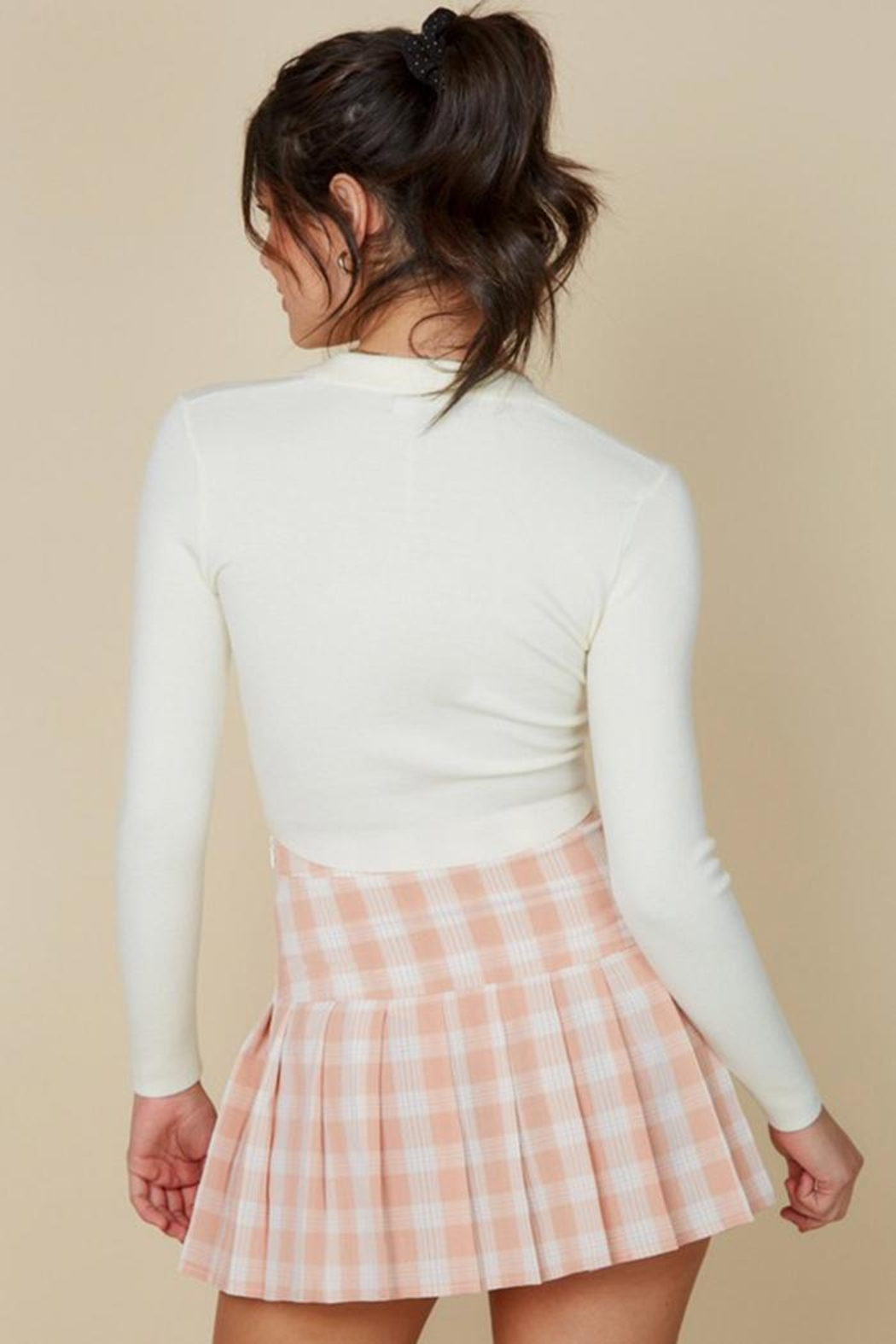 blue blush Plaid Tennis Skirt - Back Cropped Image